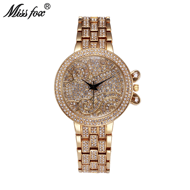 Miss Fox 37mm Lucky Clouds Role <font><b>Watches</b></font> Women Gold Full Diamond Sobretudo Feminino <font><b>Bu</b></font> Rhinestone Luxury Brand Relojes Mujer 2017 image