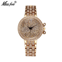 Miss Fox 37mm Lucky Clouds Role Watches Women Gold Full Diamond Sobretudo Feminino Bu Rhinestone Luxury Brand Relojes Mujer 2017