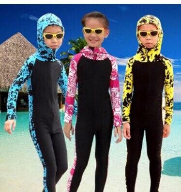 Профессиональный Мокрые одежды спорта людей детская одежда с длинными рукавами с капюшоном и цветочным принтом водолазный костюм полный С... ...
