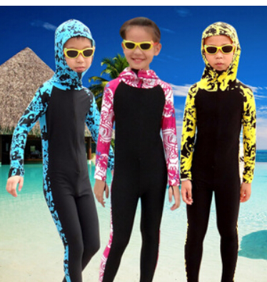 SBART Wetsuit Kids Long Sleeve Hooded Floral Diving Suit Full Body Swimwear Lycra Surf Wetsuits Children Surfing Wet Suits sbart 2017 men rash guard surfing diving suits swimwear long sleeve suit swim snorkeling suit surf shirt rashguard tight l