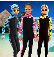 SBART Wetsuit Kids Long Sleeve Hooded Floral Diving Suit Full Body Swimwear Lycra Surf Wetsuits Children Surfing Wet Suits