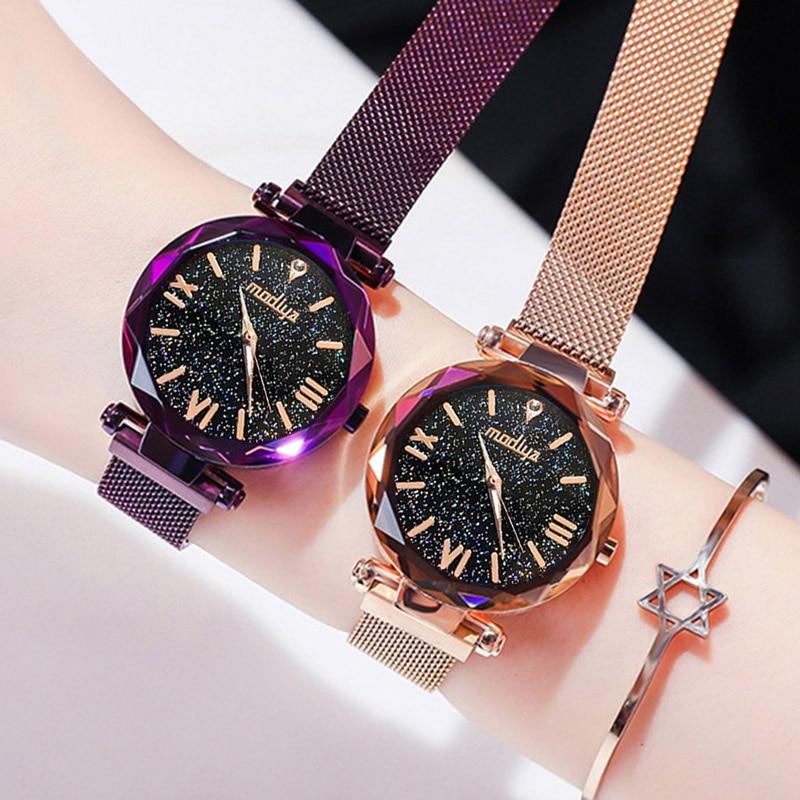 Women-Watch-Top-Luxury-Brand-Dress-Watch-For-Magnet-Starry-Sky-Blue-Mesh-Steel-Lady-Wrist