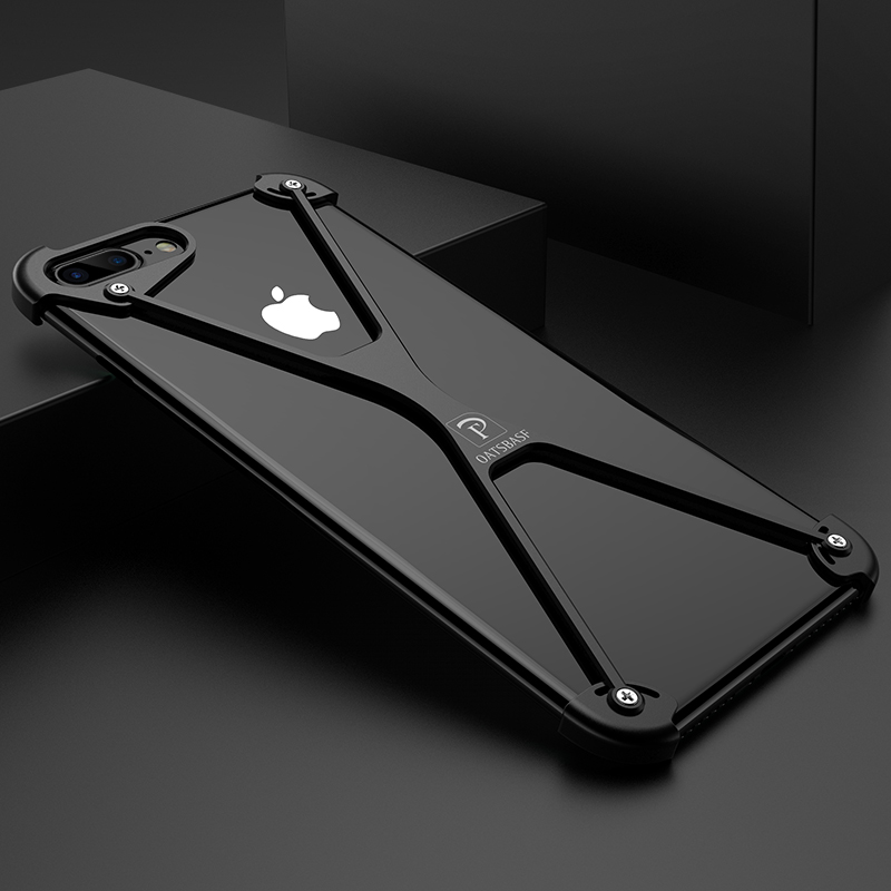 X Shape Case for iPhone 7 Personality Shell for iPhone 7 Plus Metal Border Metal Bumper Ring Holder Cases