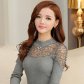 2016 Women Lace Sweaters Pullovers Embroidery Winter Sexy Woman Knitwear Lady Blouse Top Tunic Poncho Black,Red,White,Grey