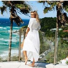 Ариэль Сара белые чехлы-Up пляж пальто купальник сокрытия кружевная пляжная одежда от солнца вязаное Бикини Cover-up
