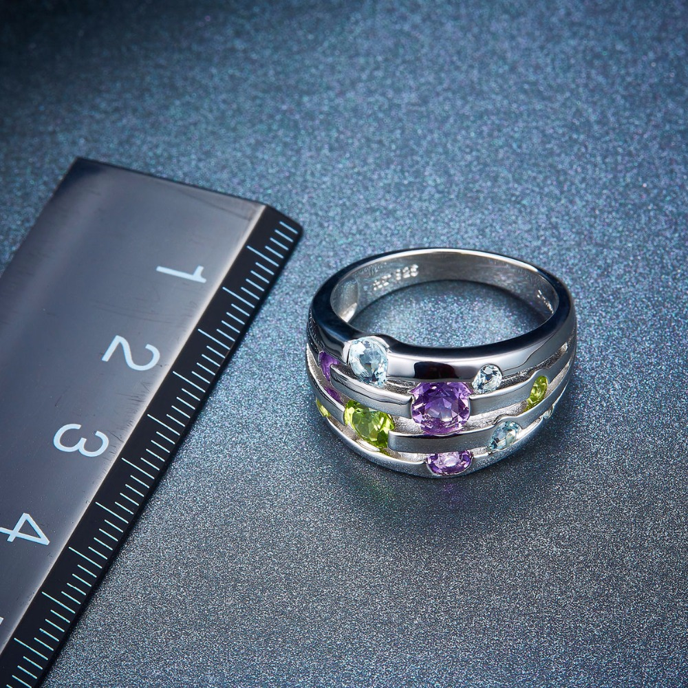 Hutang Natural Amethyst Wedding Rings Peridot Topaz Solid 925 - Smykker - Foto 5