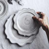 Japanese Ceramic Tableware Porcelain Plate Gray Vintage Steak Plate Kitchen Dishes Breakfast Dessert Tray