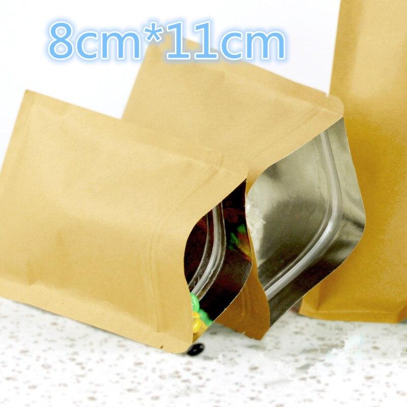 100 Pcs 8*11cm (3.1*4.3) Valve Zipper Small Kraft Paper Aluminum Foil Bag Coffee Tea Powder Food Storage Pack Zip Lock Pouch