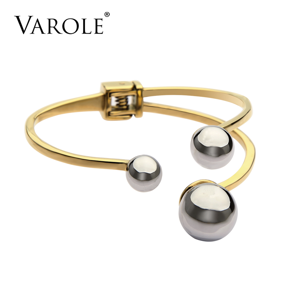 VAROLE Stainless Steel Beads Cuff Bracelet For Women Noeud Armband Gold Color Bangles & Bracelets Manchette Bangle Pulseiras cremo labyrinth bangles stainless steel bracelets femme bijoux manchette reversible 40mm wide maze leather bangle pulseiras