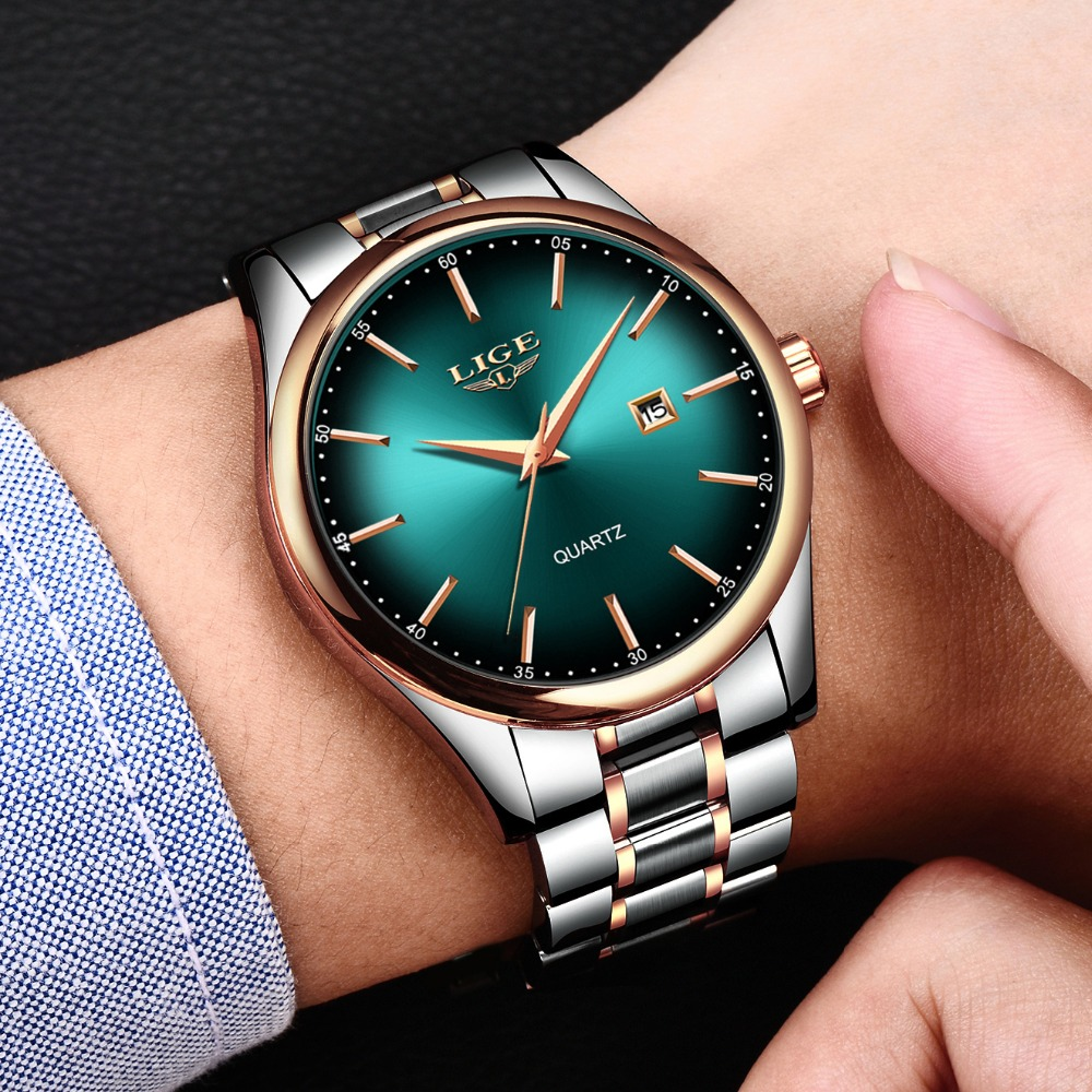 LIGE Top Brand Luxury Watches Men Stainless Steel Waterproof Watch Sport Quartz Mens WristWatch Business Clock Relogio Masculino