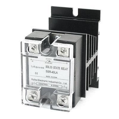 4-20mA to AC28-280V 40A Single Phase Black Aluminum Heatsink Solid State Relay normally open single phase solid state relay ssr mgr 1 d48120 120a control dc ac 24 480v