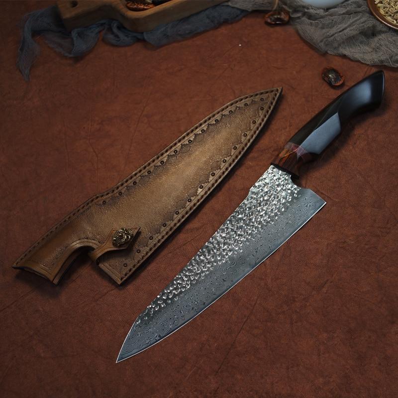 Ev ve Bahçe'ten Mutfak Bıçakları'de FZIZUO 8.5 Inç VG10 Şam çelik şef bıçağı Abanoz Kolu Gyuto Bıçak Paslanmaz Çelik Mutfak Bıçakları Pişirme Araçları ile Kılıf'da  Grup 1
