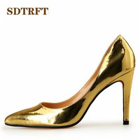 SDTRFT Plus 45 46 47 48 Spring Autumn Stilettos 10cm Thin Heels Sexy Patent Leather Red
