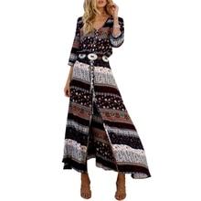 Womens Long Maxi Dress Floral Print Button Up Split Boho Flowy Party Half Sleeve mesh checkered flowy dress