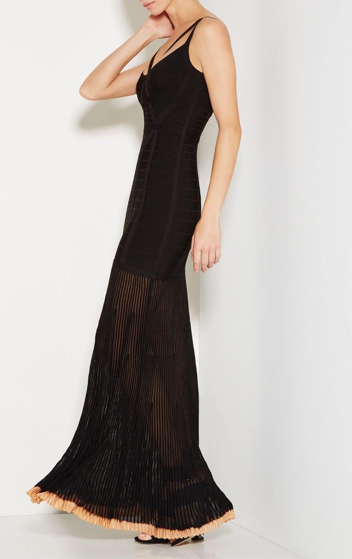 Partie Élégante De Qualité Noir V Long Robes Sexy Club cou Mode Bandage Night Crds Top Femmes Celebrity qt08wtd