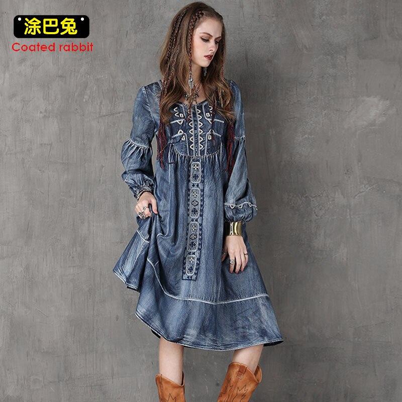 2018 mode lâche grande robe en Denim printemps à manches longues col rond broderie Vintage femmes robes femme vêtements genou-longueur