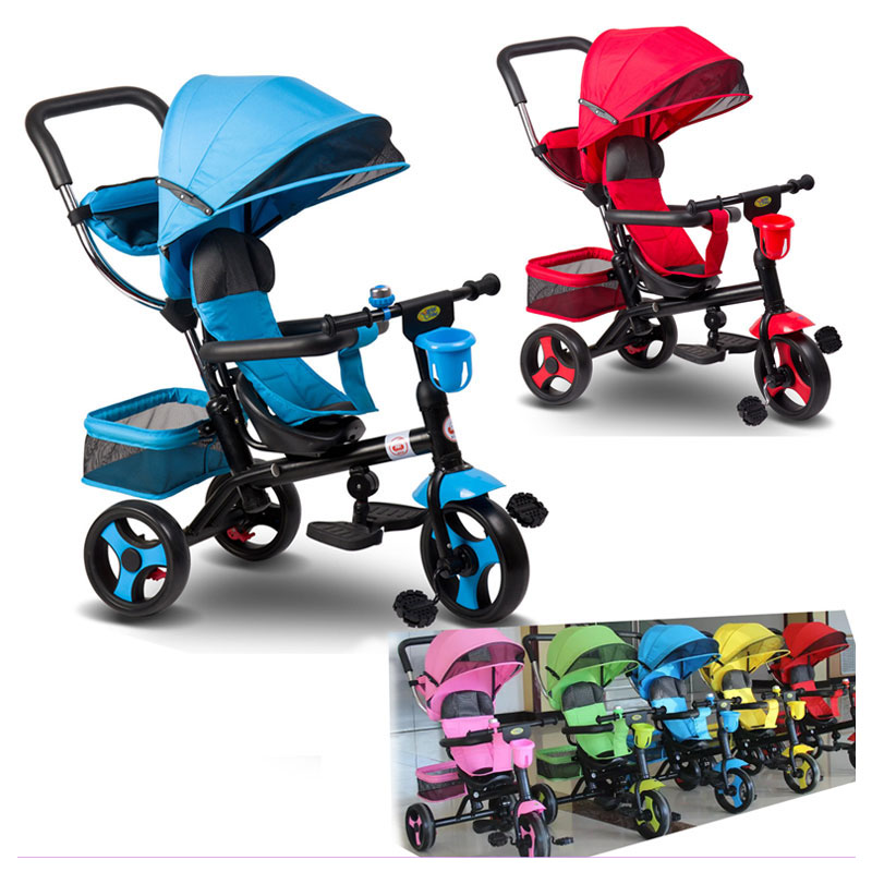 все цены на Multi-purpose Children's Hand Push Tricycle 4 In 1 Baby Stroller Bike Baby Carriage with 3 Wheels Jogging Stroller Child Trike онлайн