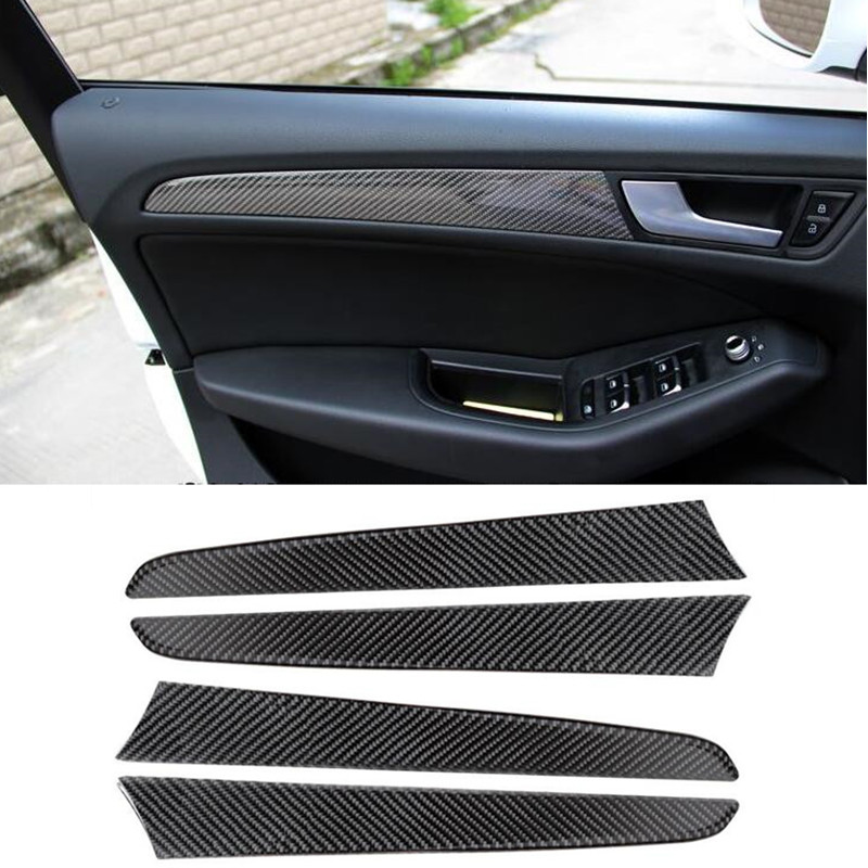 Car Carbon Fiber Door Panel Decal Cover Trim 4pcs For Audi Q5 Interior Accessories Decoration Strip Stickers