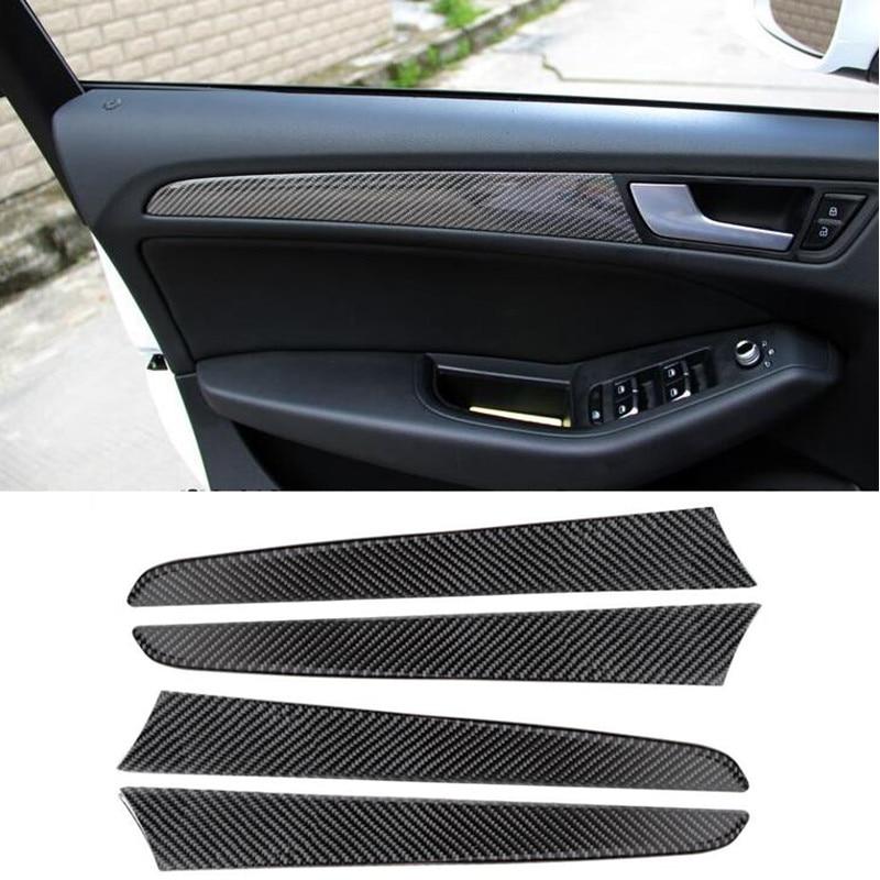 Car Carbon Fiber Door Panel Decal Cover Trim 4pcs For Audi Q5 Interior Accessories Decoration Strip Stickers