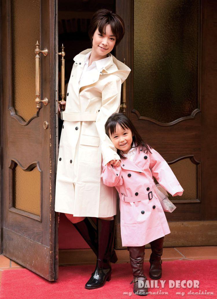 New parent-children match rain coat for girls and mother fashion woman rain coat trenchcoat women rainwear kids and mum raincoat