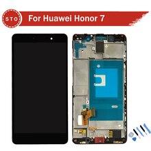 Para huawei honor 7 pantalla lcd con pantalla táctil digitalizador asamblea con marco + herramientas de envío gratis