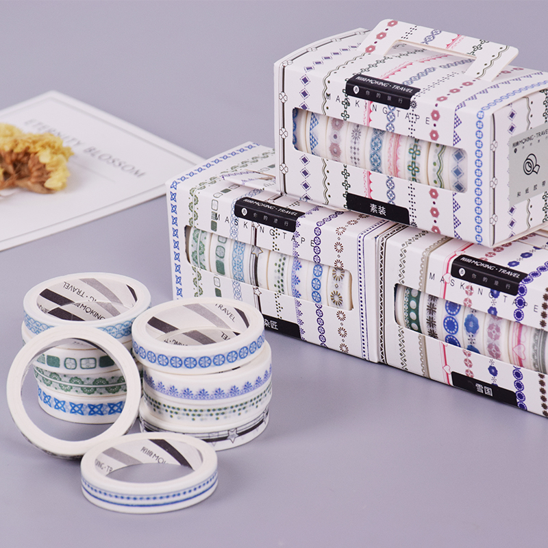 10 Pcs/Box Mojin Checkered Stripes Washi Tape DIY Decoration Scrapbooking Planner Masking Tape Adhesive Tape Kawaii Stationery