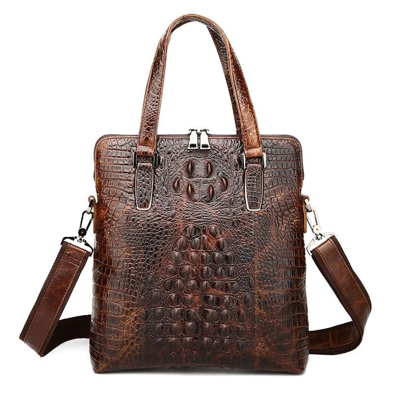 ФОТО Brown Vintage Alligator Pattern Real Skin Genuine Leather Men Messenger Bags Cowhide Man Briefcase Portfolio #M1231