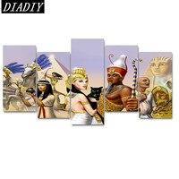 5pcs. Pieno, Diamante Ricamo, 5D, Pittura Diamante Egitto, regina, immagini, immagine, Punto croce, Diamante Mosaico, tela, Cucito, regali