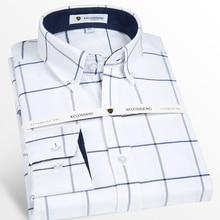 قميص رجالي طويل الأكمام قطن أكسفورد منقوش مع جيب أمامي عالي الجودة قمصان عادية عادية عادية تناسب زر إلى أسفل