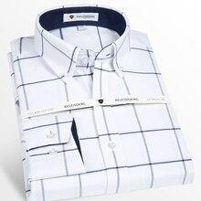 Manica Lunga da uomo Oxford camicia di Cotone Plaid Camicia di Vestito con la Parte Anteriore Della Tasca di Alta qualità Smart Casual Standard fit button down Camicette