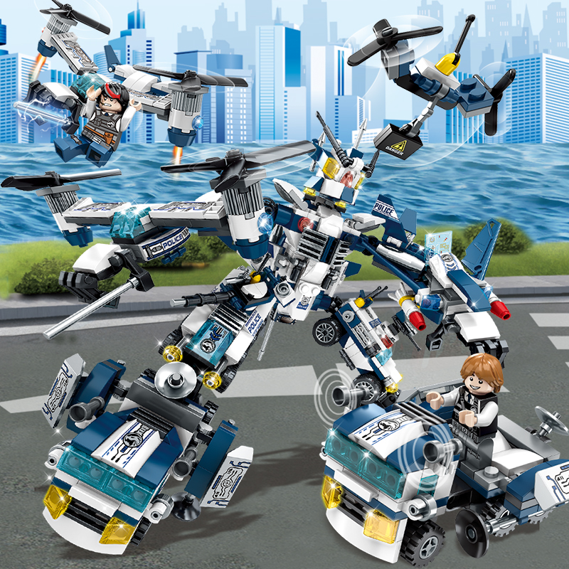 Police Building Block  With Transformer Fighter Truck Helicopter Brick Compatible With LegoInglys  Army Block Toys For Child