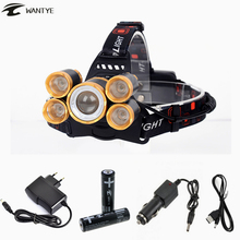 15000LM Head lamp T6+4R5 LED Zoomable Headlamp Rechargeable Head flashlight linterna 18650 battery Camping Fishing Headlight