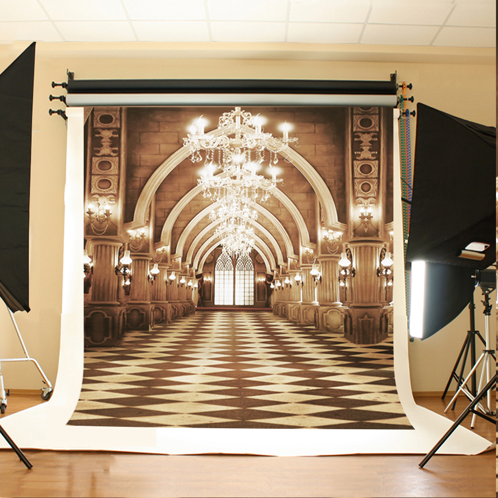 Wedding Photo Backdrops Chandelier Windows Party Photo Backdrops Black and White Lattice Floor Backgrounds for Photo Studio