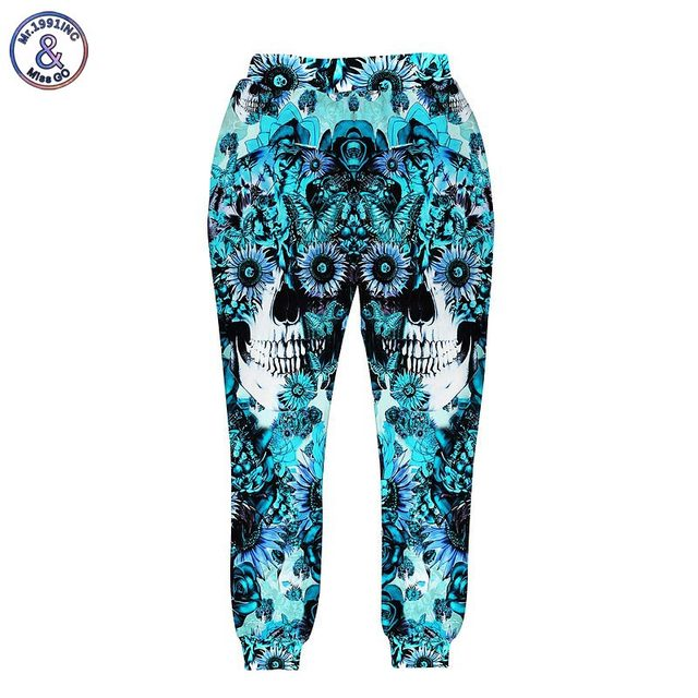 Mr.1991INC Skulls printing men/women 3d pant print blue roses Sunflower and butterfly long trousers joggers autumn clothes
