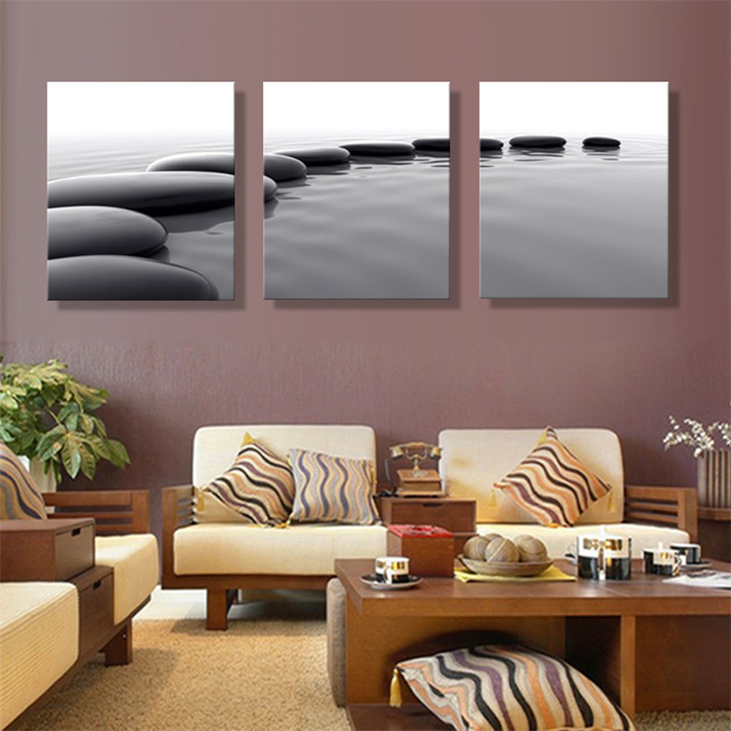 Frameless 3 Panels Pebbles Stone Pebbles stones and ocean scenery Pictures For Living Room Still Home