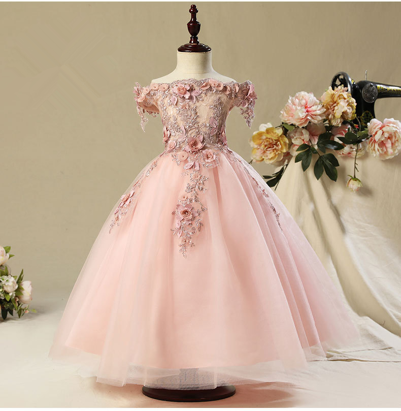 Flower     Girl     Dress     Girl   Wedding   Dress   Pink Beading Appliques   Dress     Girls   Party   Dress   Kids Birthday Clothing for 2-13 years