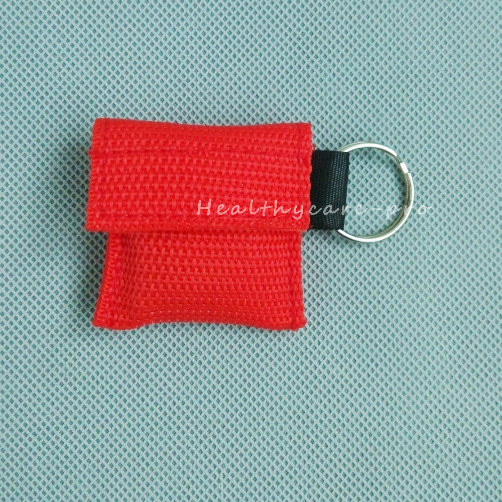 ФОТО 100 PCS /lot CPR MASK WITH KEYCHAIN CPR FACE SHIELD For Cpr/AED RED COLOR NEW