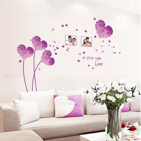 Love At First Sight Romantic Wall Stickers Home Decor Purple Hearts