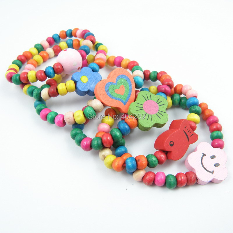 12Pcs Girl Colorful Wood Wristbands Child Bracelet Jewelry