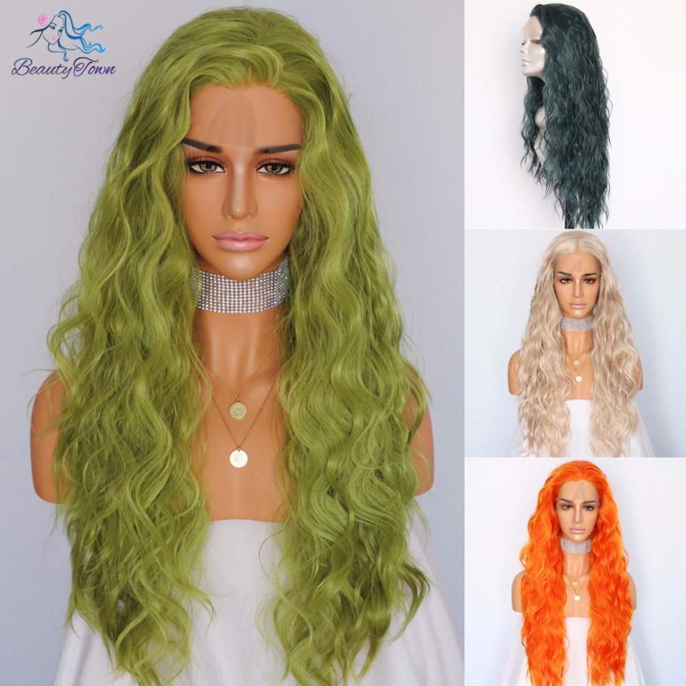 BeautyTown Dark Light Green Yellow Beige Natural Water Wave Hair Women Makeup Wedding Party Gift Synthetic Lace Front Daily Wigs(China)