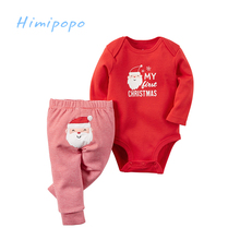 HIMIPOPO Dear Santa Print Christmas Baby Girls Clothes Set Kids Outfit Toddler Infant Girl Bodysuits Children Suit Pant 2pcs