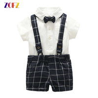 ZOFZ Summer Baby Clothes 3Pcs Set Of Blue Plaid Overalls Gentleman Romper With Bow Tie Children
