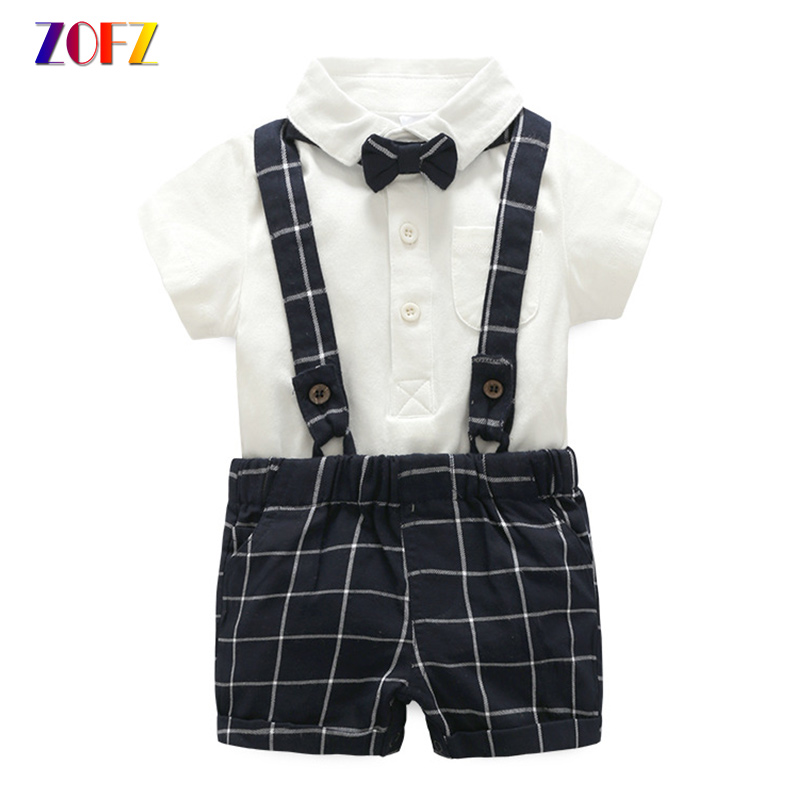 ZOFZ Summer Baby Clothes 3Pcs/Set of Blue Plaid Overalls+Gentleman Romper with Bow Tie children Sets Cotton Baby Boy Clothing nyan cat baby boy clothes short sleeves gentleman bow tie vest romper hat 2pcs set outfit jumpsuit rompers party cotton costume