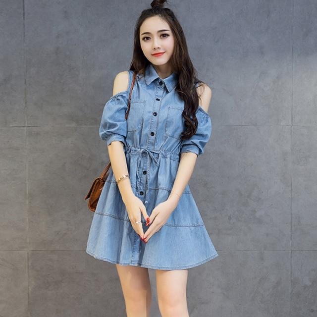 de casual denim corta mujer 2017 primavera del vestidos largas camisas dress manga verano hombro atractivas qXq6xt