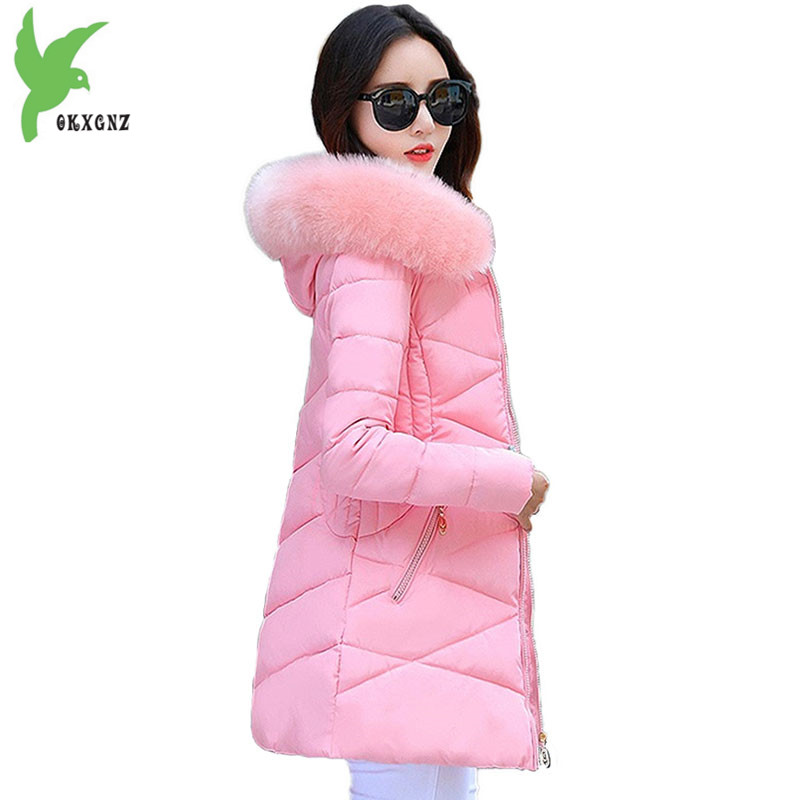 2018 Women's Winter   Parkas   Slim Down cotton Jacket Plus size Fur collar Hoodies Female Thick Warm Top Students Cotton Coats 2040