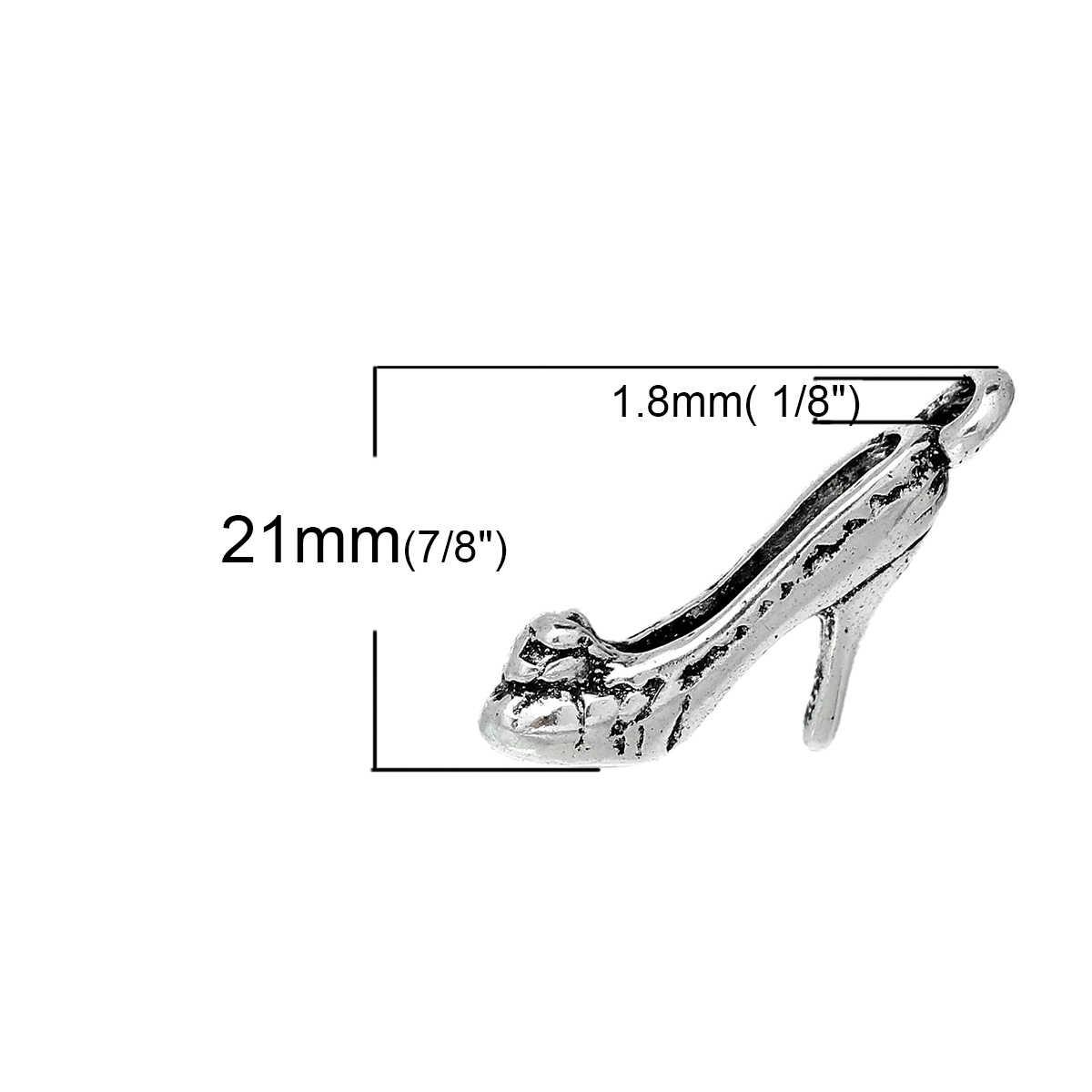 "DoreenBeads Zinc colgante de adorno de aleación metálica colgantes zapatos de tacón alto plata antigua 21mm (7/8 "") x 4mm (1/8""), 4 Uds"
