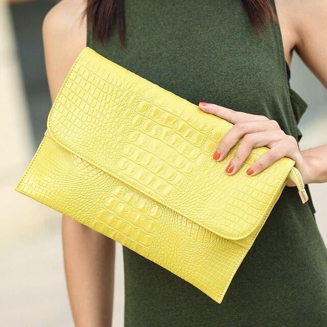 67736ce0d993 DOYUTIG для женщин конверт Вечерний Клатч сумки желтый крокодил узор женский  пояса из натуральной кожи на плечо через кошельки A1210