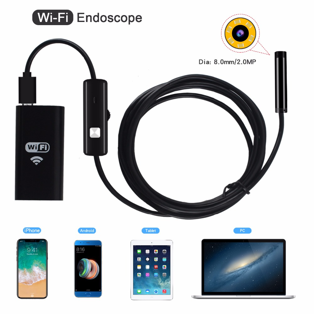 8mm Wifi Endoscope HD Camera  Borescope 720P Endoscope Inspection Pipe Waterproof Camera For Android IPhone