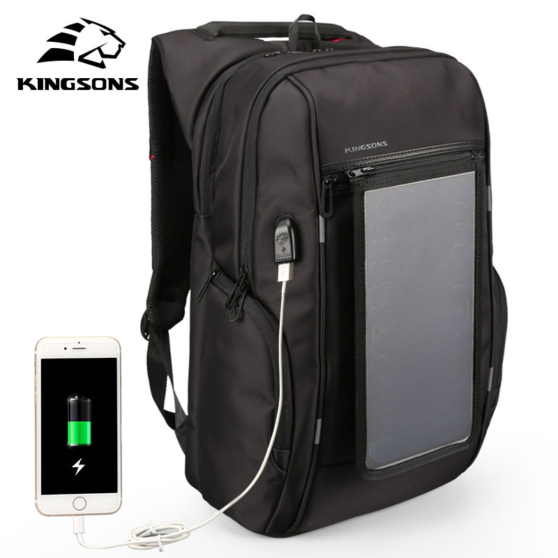 Kingsons Men's Backpack Women's Solar Panel Backpack 15.6-Inch Convenient Charging Laptop Travel Bag Sunny Backpack Charger mesh panel iridescence backpack