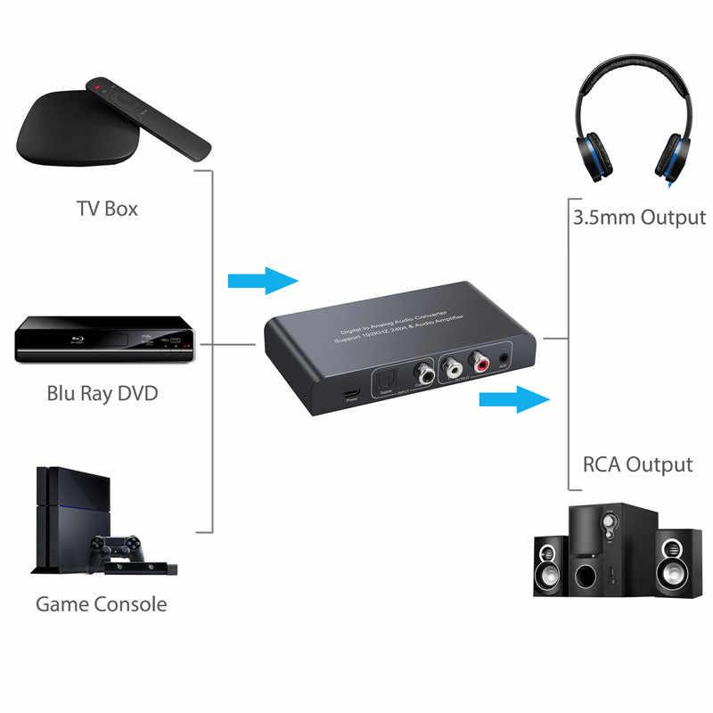 Proster цифровой ЦА-преобразователь в аналоговый аудио конвертер с ИК-пультом дистанционного управления оптический коаксиальный оптический выход в RCA 3,5 мм Jack адаптер